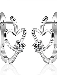 lureme®Fashion Style Silver Plated With Zircon Heart Shaped Stud Earrings
