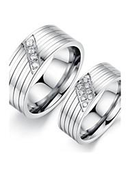 Titanium Steel Inlaid Cubic Zirconia Couple Rings (1 pair)