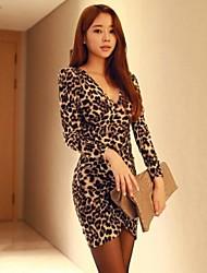 manches longues robe imprimé léopard des femmes