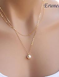 Eruner®Simple Elegant Pearl Double Chain Alloy Pendant Necklace,Tiny Necklace(Rando