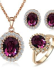 esmeralda elegante ouro rosa 18k pated roxo \ cristal austríaco brincos de pingente de colar verde conjunto de jóias anel