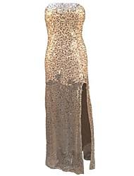 sequin sexy bandeau la robe maxi mince des femmes