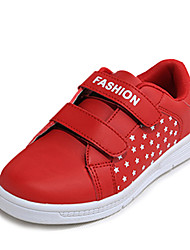 Girl's Sneakers Fall Comfort / Round Toe Leather Casual Flat Heel Magic Tape Red / White