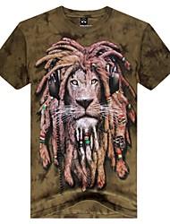 Herren-Rundhalsausschnitt Mode Tiger Tier 3D gedruckt Kurzarm-T-Shirt