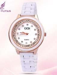 mujeres de la marca de lujo gedi® relojes de moda de oro rosa de cerámica redondo de cuarzo rhinestone de línea de relojes (colores surtidos)