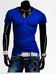 moda v cuello camiseta de los hombres casuales