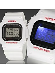 negro banda de silicona esfera de un reloj redondo reloj de pulsera de reloj del deporte del salto movimiento de la moda de Japón de los hombres