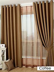 sala de oscurecimiento de imitación de lino jacquard cortina sólida (dos paneles)