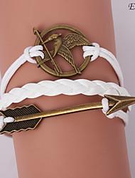 bracelets eruner®leather alliage multicouche mockingjay et flèche charmes brac main