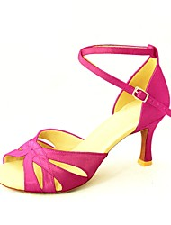 Customizable Women's Dance Shoes Latin/Salsa Satin Customized Heel Black/Blue/Yellow/Pink/Purple/Red/White/Fuchsia