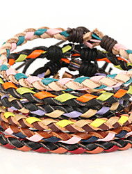 Christmas Color One Thin Braided Men's Leather Bracelet Random Color (1 Piece)