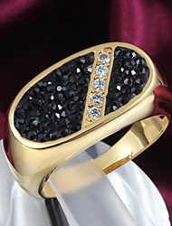 Father's Day Gift Shamballla Style Gold Plated Black and White Stone Ring
