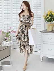 Women's Print Yellow/Gray Dress , Sexy/Beach/Casual/Print Strapless Sleeveless
