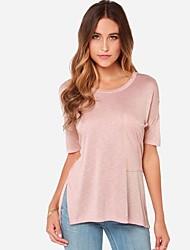 Damen Solide Einfach Lässig/Alltäglich T-shirt Sommer Kurzarm Rosa / Grau Baumwolle Mittel