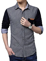 Men's Long Sleeve Shirt , Cotton/Polyester Casual/Plus Sizes Plaids & Checks