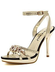 Women's Shoes Sling back Stiletto Heel Sandals  with Buckle and Rhinestone Shoes