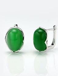 AS 925 Siver Jewelry  Green Opal  Earrings