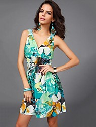 Women's Floral Green Dress , Beach/Casual Deep V Sleeveless