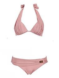 Women's Sexy Push Up Solid Color Halter Summer Beach Swimwear Bikini Set