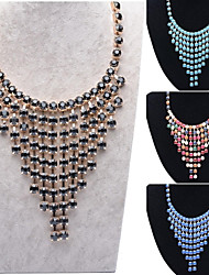 New Design Waterfall Style Pendant Fashion Jewelry Alloy Chain Set Acrylic Pearl Statement Collar Necklace
