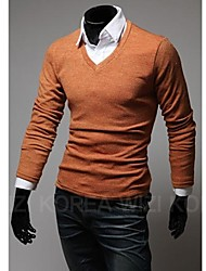 COOLMAN   Men Slim V-neck Long-Sleeved T-Shirt
