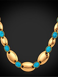 U7® Chain Necklace 18K Real Gold Plated Turquoise Stone Choker Necklace Fashion Jewelry