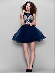 A-Line High Neck Short / Mini Tulle Homecoming Prom Dress with Beading by TS Couture®