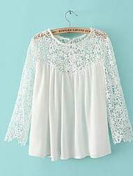 Women's Lace White Shirt , Round Neck ¾ Sleeve