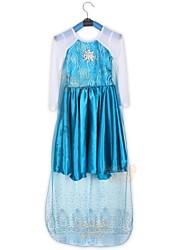 congelado niña primavera otoño vestido de princesa vestido de la muchacha vestido de manga larga
