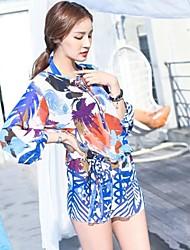 Women's Sexy Multicolor Print Chiffon Cover-ups