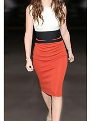 moda em torno do pescoço vestido sem mangas bodycon da TNL mulheres