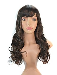 Women American Long Wavy Hair Synthetic Wigs Side Bang