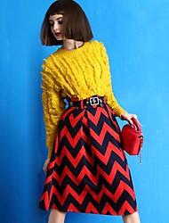 média-alta listra cintura saia uma linha vintage das mulheres.