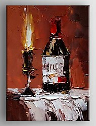 Oil Painting Wine bottle and Light by Knife  Hand Painted Canvas with Stretched Framed