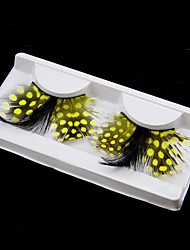 Yellow Polka Dots Feather Carnival Eyelashes