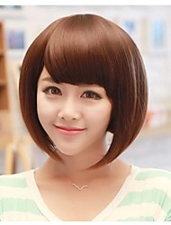 10inch Yaki Straight Synthetic  Machine Made Wig with Full Bang