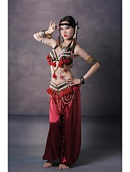 Belly Dance Outfits Women's Performance Sequined / Silk Buttons / Pattern/Print / Tassel(s) Dropped Belt: S:85cm, M:85cm, L:90cm