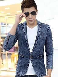 skymoto® Männer Patchwork dünne Jeansblazerjacke