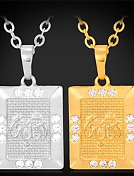 Fancy Allah Pendant Necklace 18K Real Gold Platinum Plated Rhinestone for Women High Quality