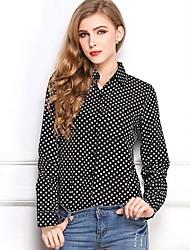 Mulheres Camisa Formal Simples Todas as Estações,Poá Branco / Preto Colarinho de Camisa Manga Longa Fina