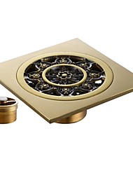 BRASS Shower Floor Drain with Removable Strainer Antique 4MM-Thick Panel, Polished Brass  V141B