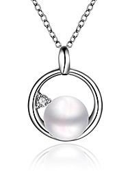 Xu™ Women's Platinum Pearl Pendant Diamonds Necklace