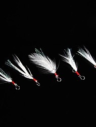 brancos pequenos peixes pena acessórios gancho (5 peças)