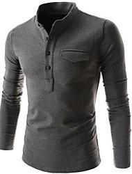 cuello estilo coreano simulacro camiseta delgada de los hombres