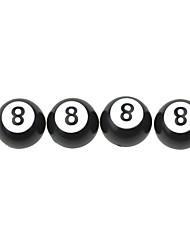 Luxury  Car Tire Black 8 Ball Copper Valves Decoration Cap (4 Pieces Per Pack)