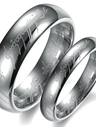 Simple Design Silver Color Tungsten Couple Ring