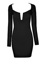 Women's Club Bodycon Dress,Solid Asymmetrical Above Knee Long Sleeve Black Spring / Summer / Fall