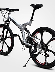 Mountain Bike Cycling 21 Speed 26 Inch/700CC 50mm Unisex Adult Double Disc Brake Springer Fork Full Suspension Ordinary/Standard