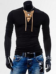 Men's Classic Suede Spliced V Neck Long Sleeve T-Shirt