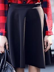 de manera simple color sólido falda de cintura alta de las mujeres